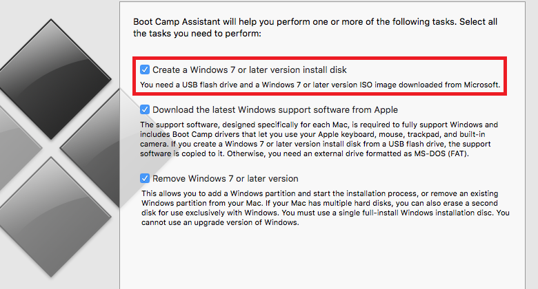 Create a Windows 7 or later version install disk missing on El Capitan