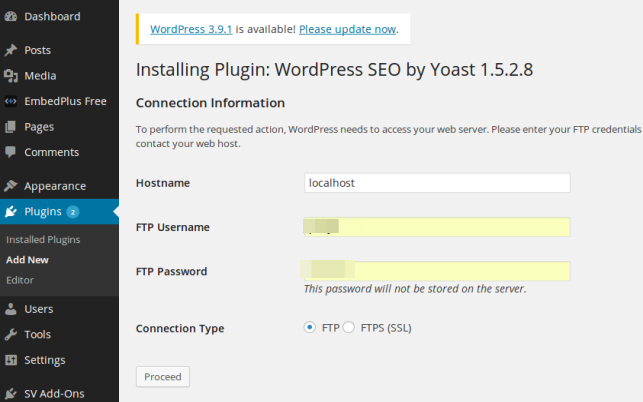WordPress plugin update Connection Information